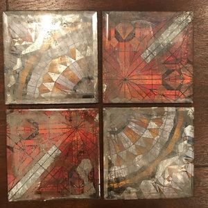 Anthropologie Mosaic Glass Coasters | Set of 4